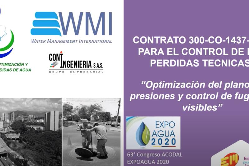Présentation du projet de réduction des pertes d'eau de la ville Cali au Congrès ACODAL (Colombie, septembre 2020)